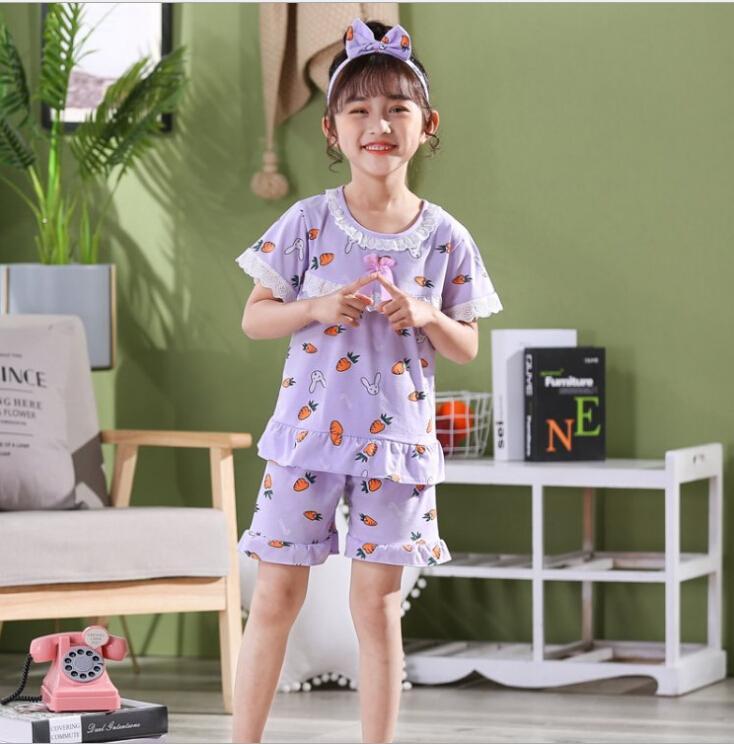 Algodón ChildrenŃs pijamas Set pantalones cortos de la camiseta de manga corta de verano + set para niños pijamas niñas pijamas del bebé ropa de noche de la princesa 5-14T