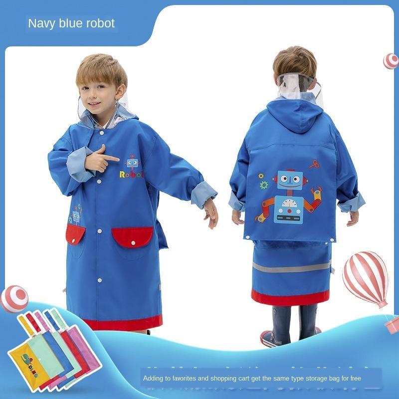 NvCUi Kinderregenmantel Jungen und Mädchen Poncho Schüler Kinder regen Schulkleidung Babykindergartentasche Mantelmantel Regenmantel mit Schule
