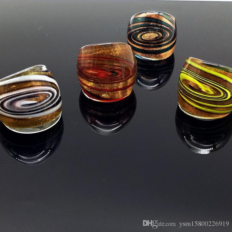 Freies Verschiffen-Groß 4Pcs Helicoidal Goldfolie Murano Glas Ringe, Art und Weise Murano Ringe 17-19mm