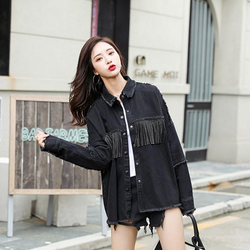 2020 Vintage Stylish Fringe Beaded Loose Denim Jacket Coat Women Fashion Long Sleeve Frayed Trim Ladies Outerwear Plus Size