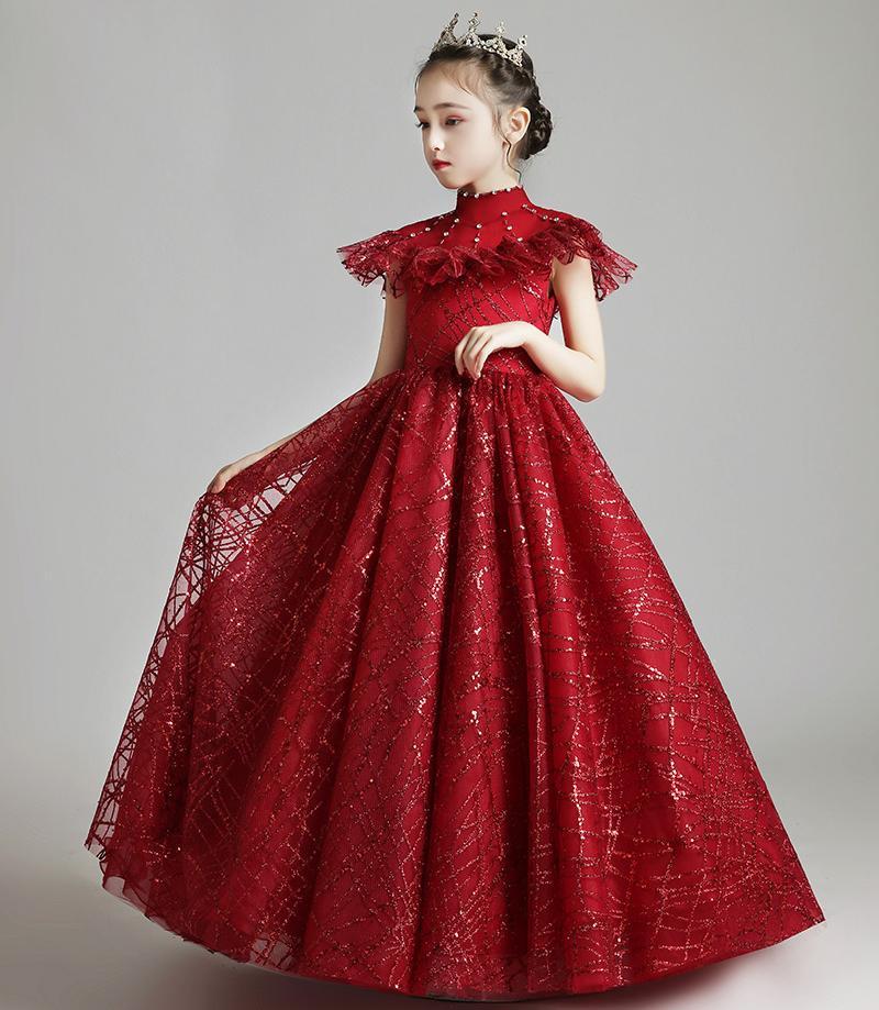 Mooie rode kant tule hoge nek bloem meisjes jurken meisje brithday jurken meisjes formele jurk vakantie jurken custom sz 2-12 DF705252