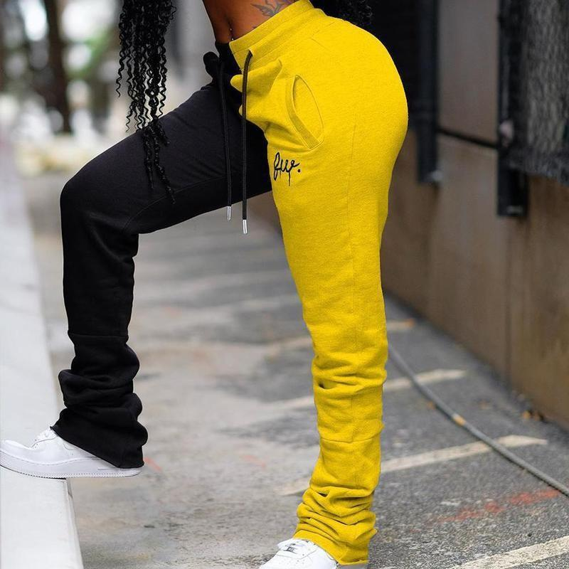 2 Colors Stacked Sweatpants Joggers Patchwork Colored Embroidery Stacked Sweatpants High Waist Pants Casual