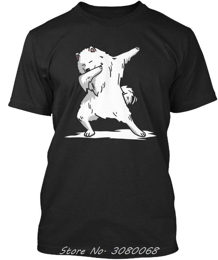 Lustige Abtupfen Samojeden-Hunde-T-Shirt-elegant neue Kurzarm Baumwolle Herren-T-Shirts Art und Weise Hip Hop Tee Tops