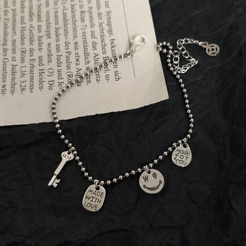 Hot Brand Woman 2017 New Sparking Micro Pave Clear 925 silver Happy Face Happy Link Chain Unique Stylish Bracelet J190722