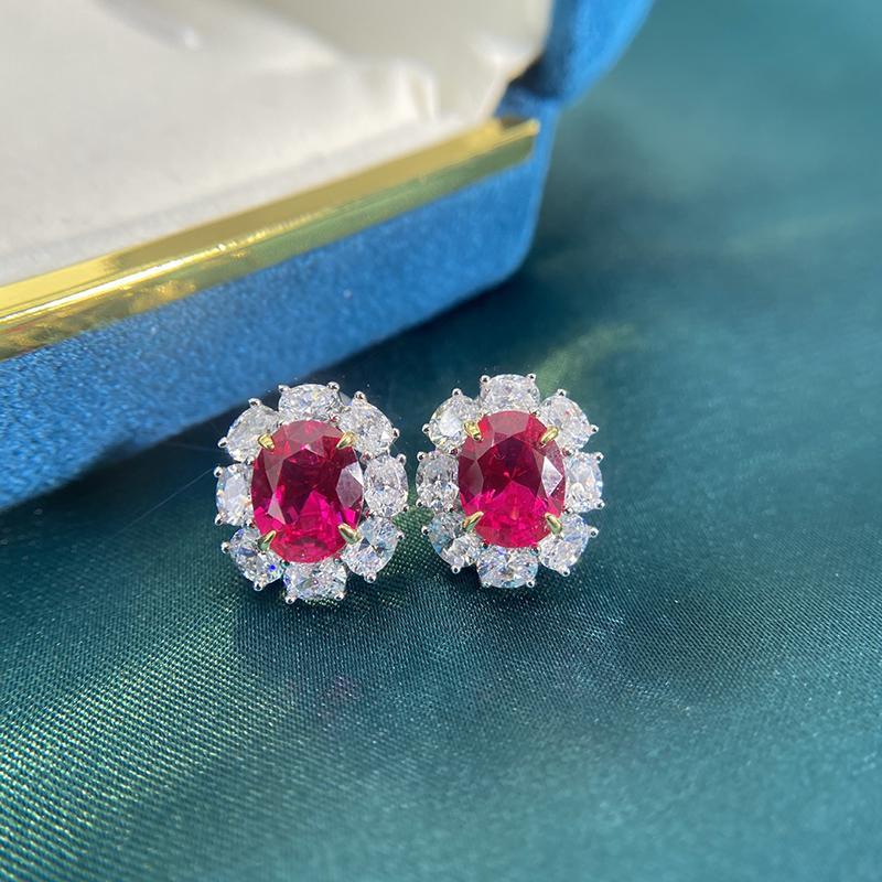 Новая мода свадебные Стад серьги 2020 цветок стерлингового серебра 925 CZ Симулированные Diamonds обручальные кольца Красивые ювелирные изделия Красный Ушные