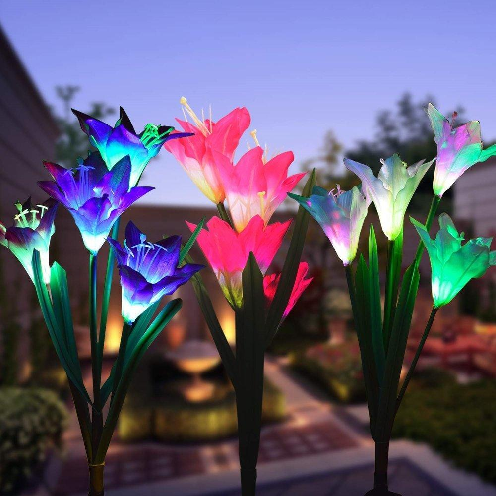 3pcs/lot Solar Powered Lights with 12 Lily Flower, Multi-Color Changing LED Outdoor Solar Landscape Lighting Light for Garden