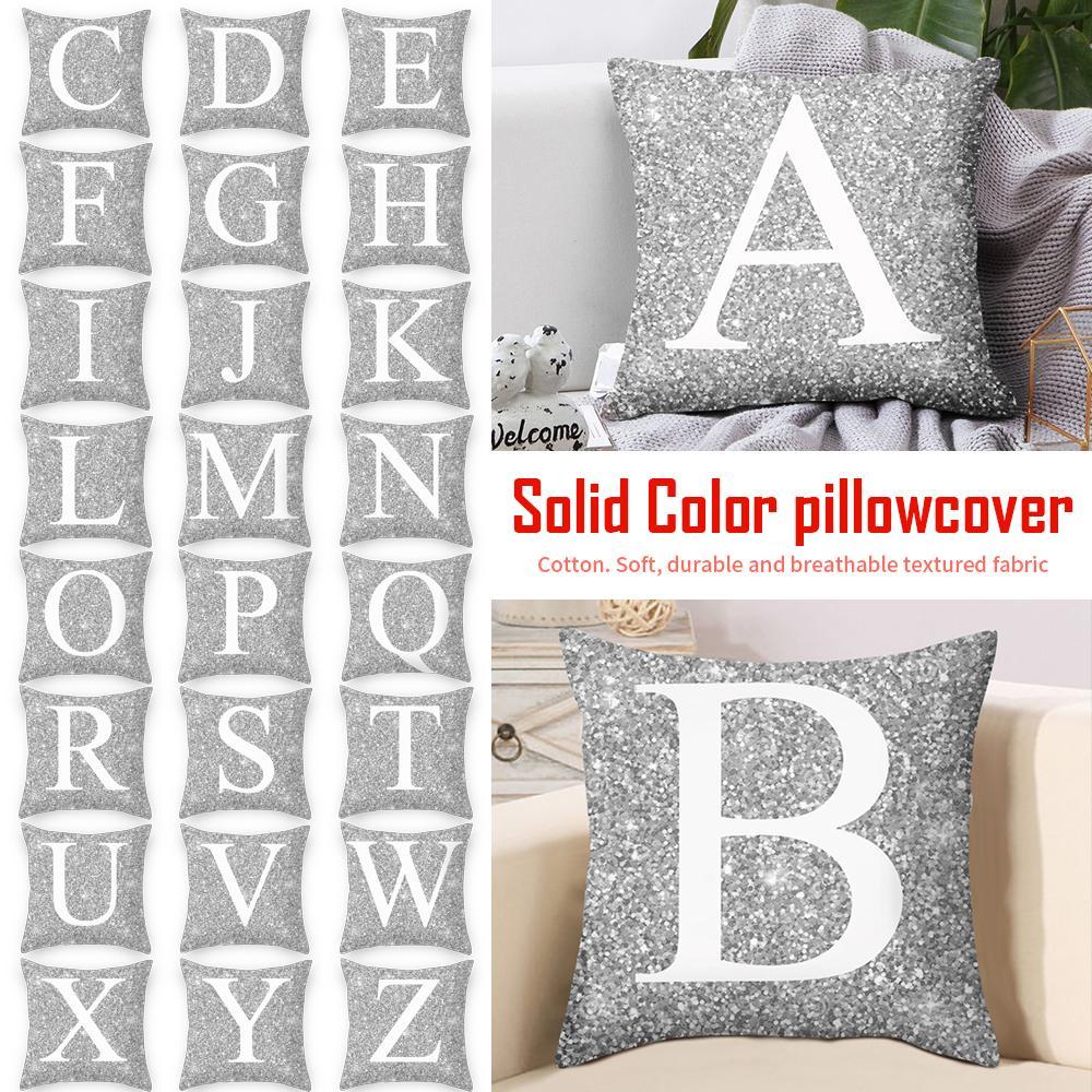 1 adet Gümüş Minder Kapak Ile Mektuplar Baskı Polyester Atmak Yastık Ev Dekorasyon 45 * 45 cm Dekoratif Yastık Kapak