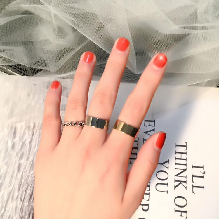 Ring Three-Piece Wide-Brimmed Open Ring European and American Popular Metal Minimalist Tail Ring Student Personality All-match Joint