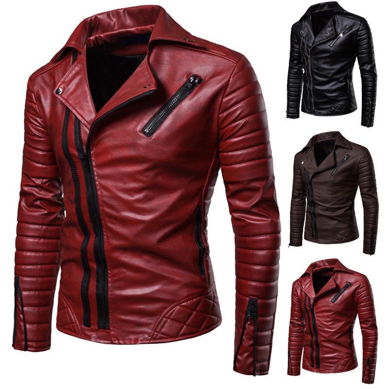 18 hiver nouveau manteau de revers de la veste en cuir mince coréenne pour manteau en cuir locomotive coton de presse de la mode masculine Pu hommes