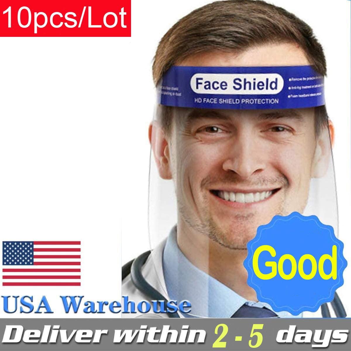 10pcs / Lot protectora de la cara Escudo Claro máscara máscaras anti-niebla de la cara llena de seguridad transparentes de protección del visor almacén de los EEUU