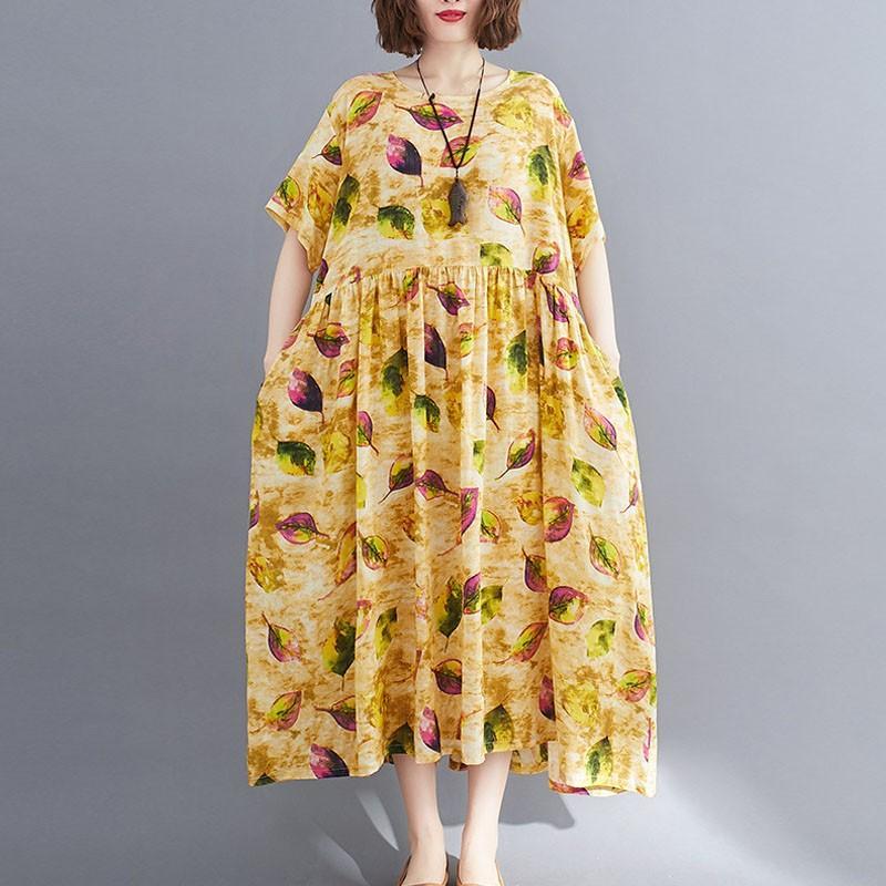 Johnature 2020 Yaz Yeni Rahat Artı boyutu Retro Moda Baskı O yaka Cepler Kısa Kollu Elbise Gevşek Leisure Kadın Elbise