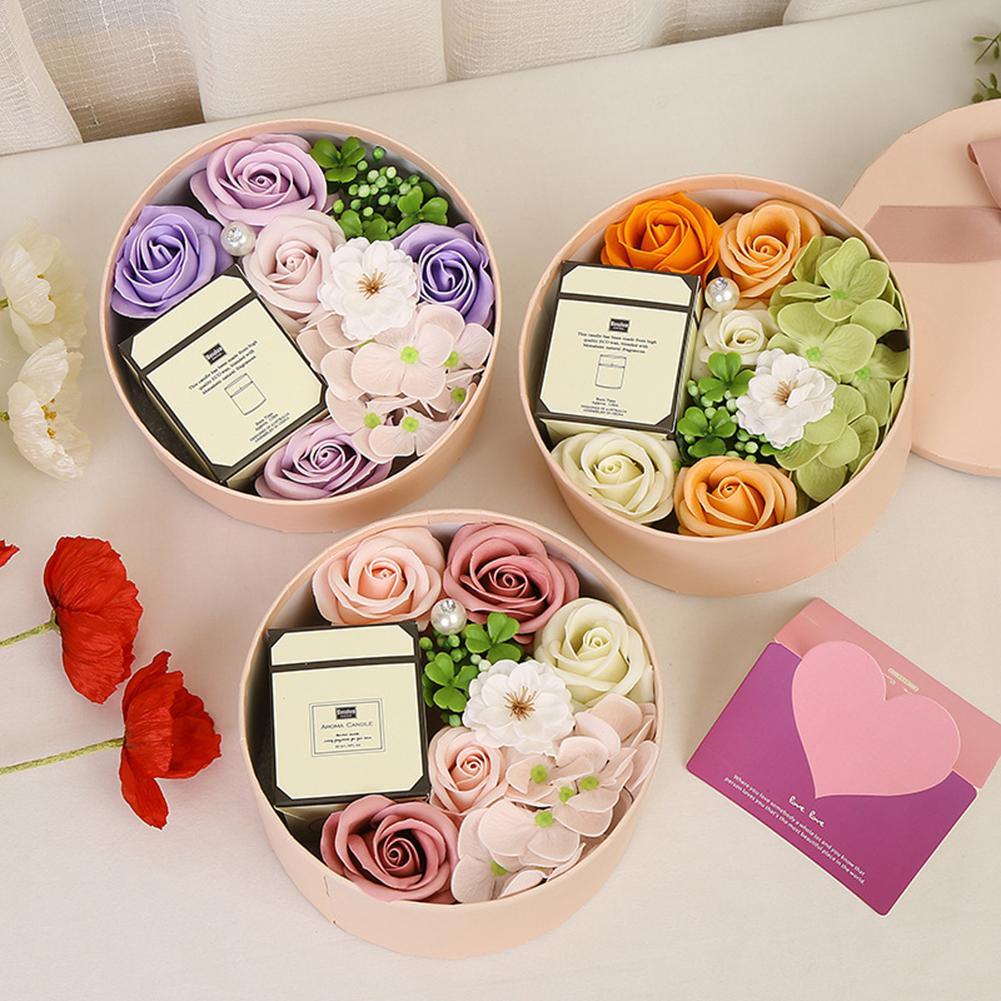 Künstliche Rose Seifen-Blume mit Smokeless Duftkerzen Geschenk Box Set für Valentinstag-Geschenk Petal Bath Body Soap Blume
