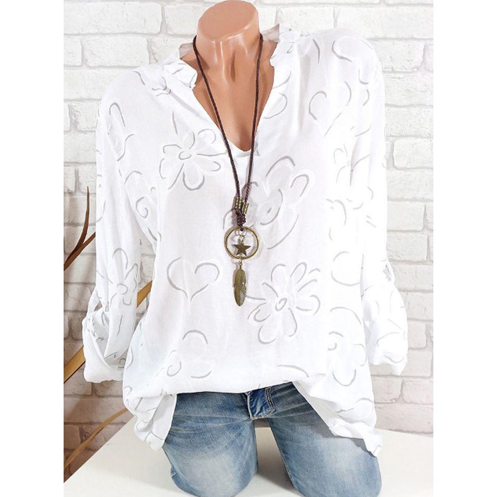 Grande camicia camicetta di modo donne Plus Size manica lunga Stampa stand colletto button Pullover Tops