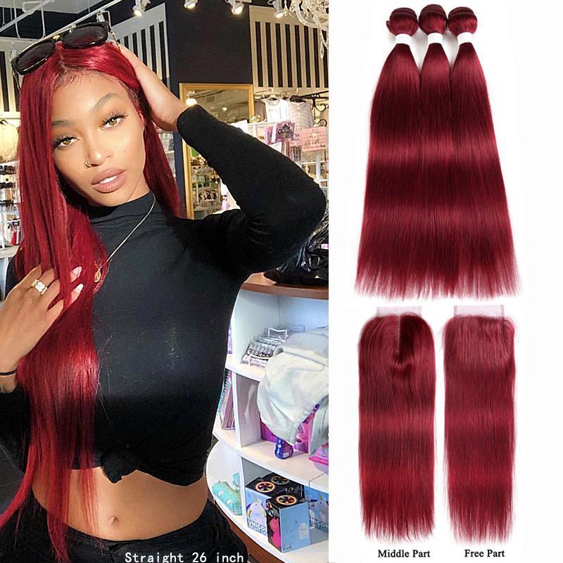 99J / Burgonya İnsan Saç Paketler ile Kapatma 4x4 Kırmızı Renk Brezilyalı Düz Saç Dokuma Paketler ile Kapatma Non-Remy saç