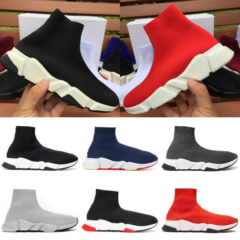 Top Speed Trainer di qualità degli uomini di modo donne scarpe da ginnastica nere Mens bianco blu formatori scarpe casual Calzino Runner US 5,5-11