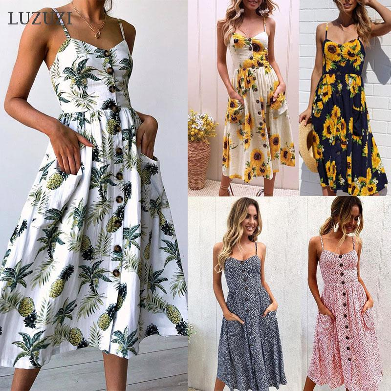 LUZUZI Summer Women Maxi Dress 2020 Vintage Sexy Bohemian Floral Tunic Beach Dress Sundress Pocket White Striped Female
