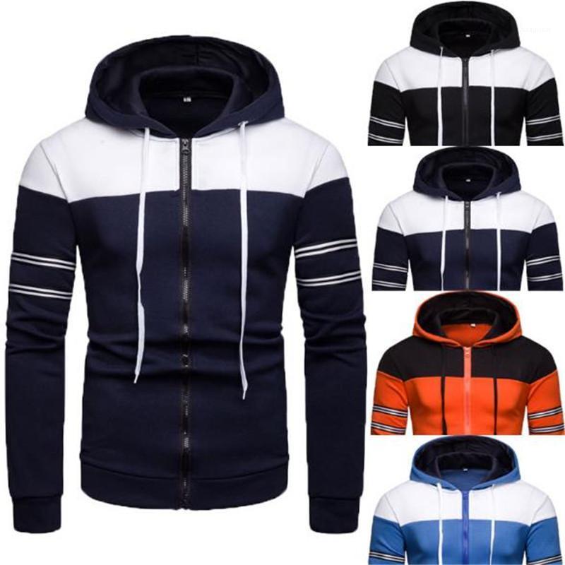 Kontrast-Farben-Designer Hoodies beiläufige Drawstring Langarm Strickjacke mit Kapuze Sweatshirts New Herren Frühling Kleidung Herren