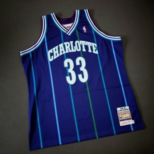 Ucuz% 100 Dikişli Alonzo Mourning Mitchell Ness 94 95 Hornets Jersey XSbedeni-5XL 52 Üst Basketbol formaları