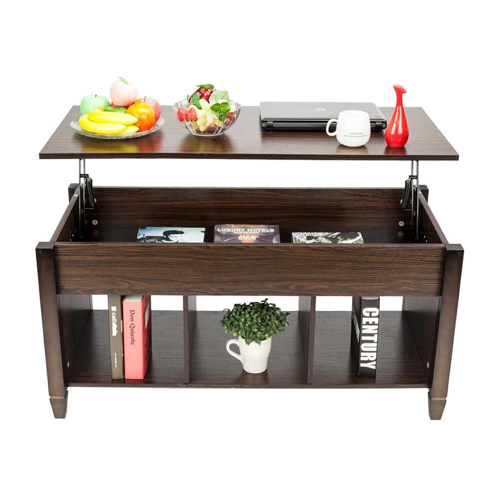 Novo elevador top mesa de café com grande espaço de armazenamento escondido casa sala de estar mobiliário marrom quente
