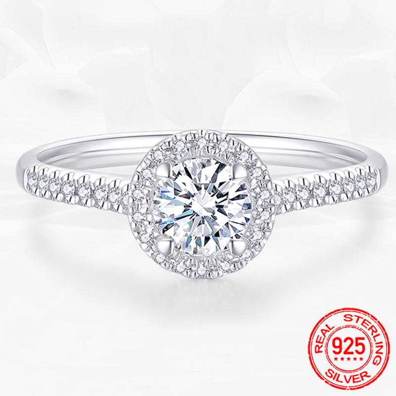 925 Sterling Silver Rings Luxury 1 Ct Simulated Moissanite Rings for Women Zircon CZ Engagement Wedding Fine Jewelry R009