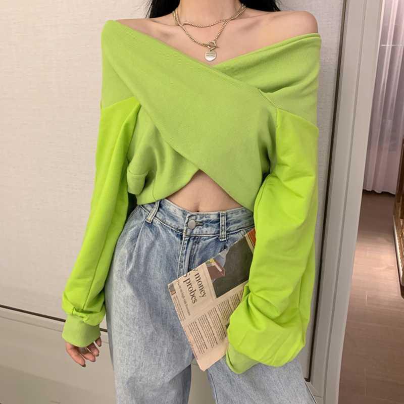 Mujeres Sexy cuello en V manga larga corta camisetas casual Verde / Negro Cruz Blanco / twist off Tapas de hombro T Shirts Mujer del club del partido