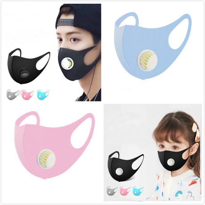 Maske heiß Erwachsene und Kind Gesicht Mund-Abdeckung 4 Farben Staubdichtes Waschbar Wiederverwendbare Ice Silk Cotton Masken Werkzeuge Großhandel Waschbar Ventil Mask