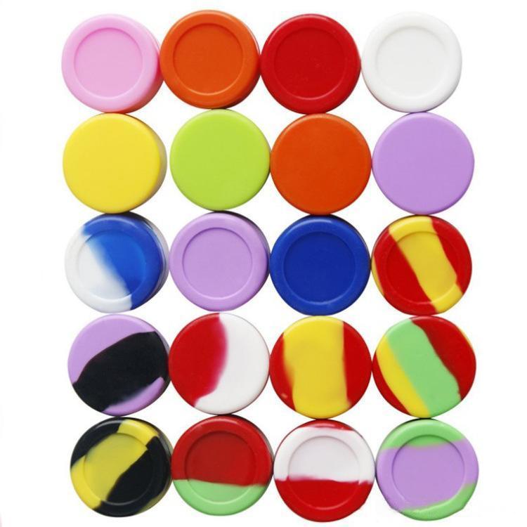 최고 품질의 실리콘 비 스틱 왁스 용기 식품 학년 42 개 색상 3mL를 5 ㎖ 7mL 미니 항아리 살짝 적셔 밀랍 항아리 집중 케이스 FDA는 ecig 상자를 승인