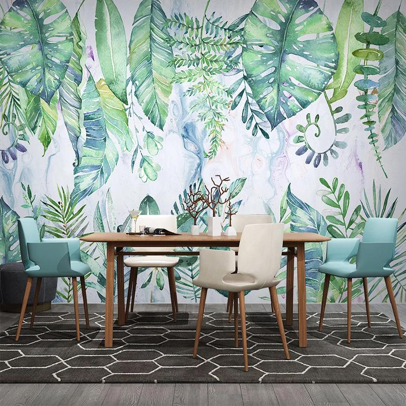 Custom Photo 3d Hand Painted Tropical Plant Leaves Tv Background Wall Mural Modern Living Room Bedroom Kitchen Wallpaper Murals Wallpaper Widescreen High Resolution Wallpaper With Images From Xiaoyin7 27 09 Dhgate Com