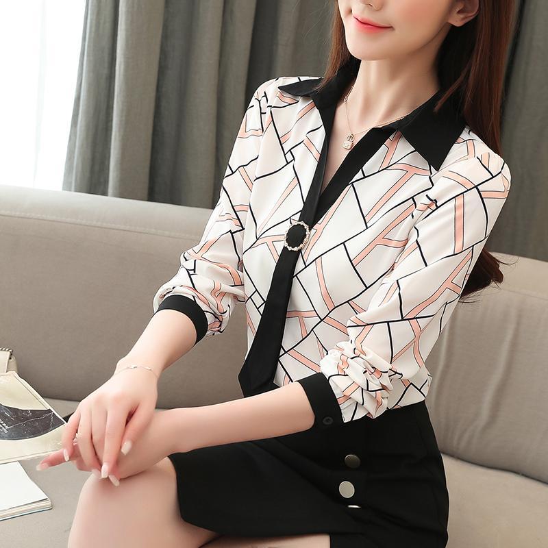 2020 camisa a rayas de otoño de manga larga de la blusa de las nuevas mujeres de la gasa de las mujeres suéter de cuello V más señoras del tamaño Tops Blusas 10673
