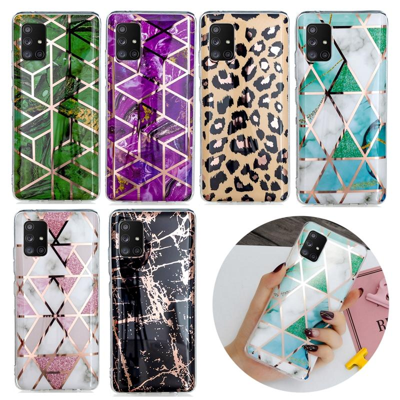 Leopard Marble Case For Samsung A41 A31 A51 A71 5G A21S Huawei Y5P Y6P 2020 Laser Geometric Hybrid Soft TPU IMD Plating Rock Chromed Cover