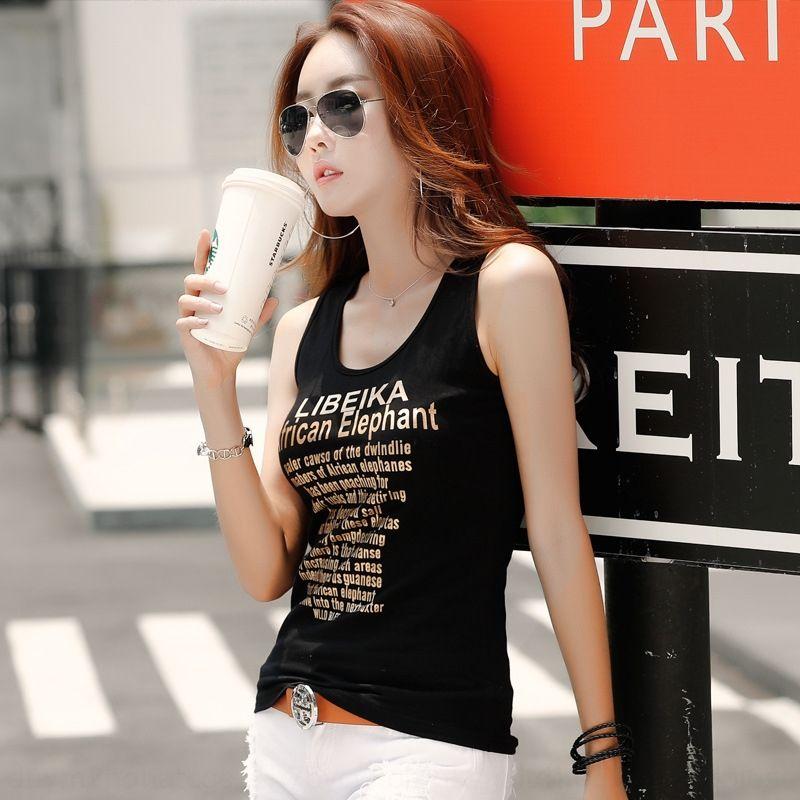 Coreano maglia della camicia di base cotone stile alla moda sottile lettera inglese a forma di U delle donne strette vestiti di estate delle donne gilet
