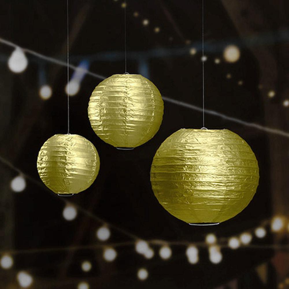 10шт 16inch Metallic Gold / Silver китайской бумаги фонариков партии Декоры Свадьба Главной Сад Фестиваль День рождение Поставка висячие шары