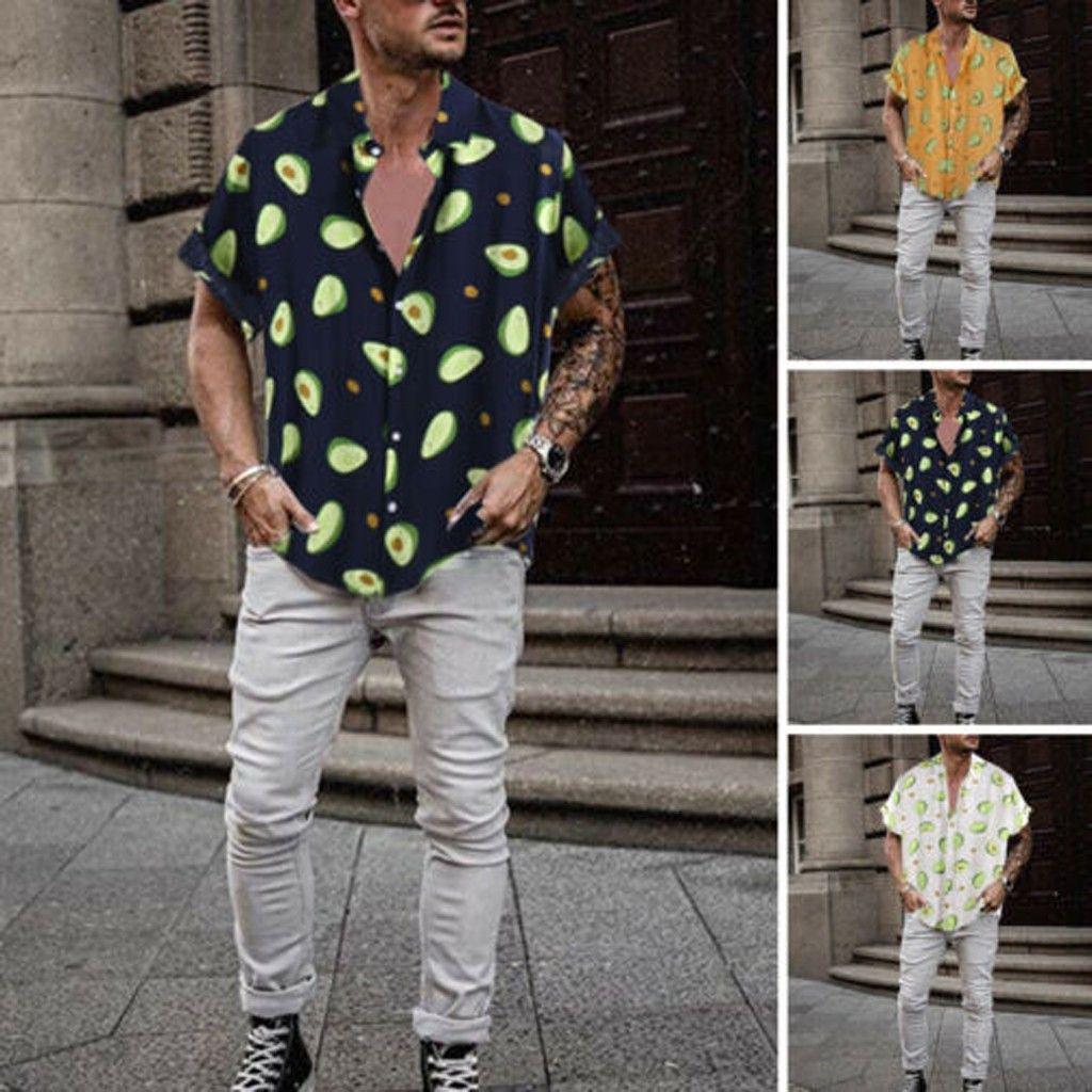 Hawaii Gömlek Erkek Komik Avokado Baskılı açın Aşağı Yaka Kısa Kollu Casual Gömlek Erkekler Düğme Streetwear Plaj Gömlek Camisa