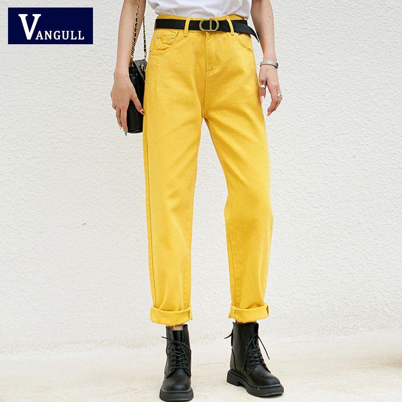 Vangull Mulheres doces Soild Jeans Calças de cintura alta Casual Feminino Harem Pants Calças Vintage Streetwear Office Lady Tornozelo de comprimento