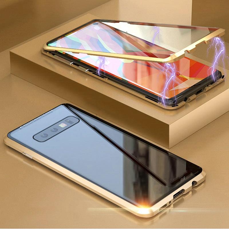 360 المغناطيسي معدن امتصاص حالة الهاتف لسامسونج S20 زائد حالة غالاكسي S8 S10 بلس مزدوجة الجانب الزجاج الكامل غطاء الزجاج المقسى