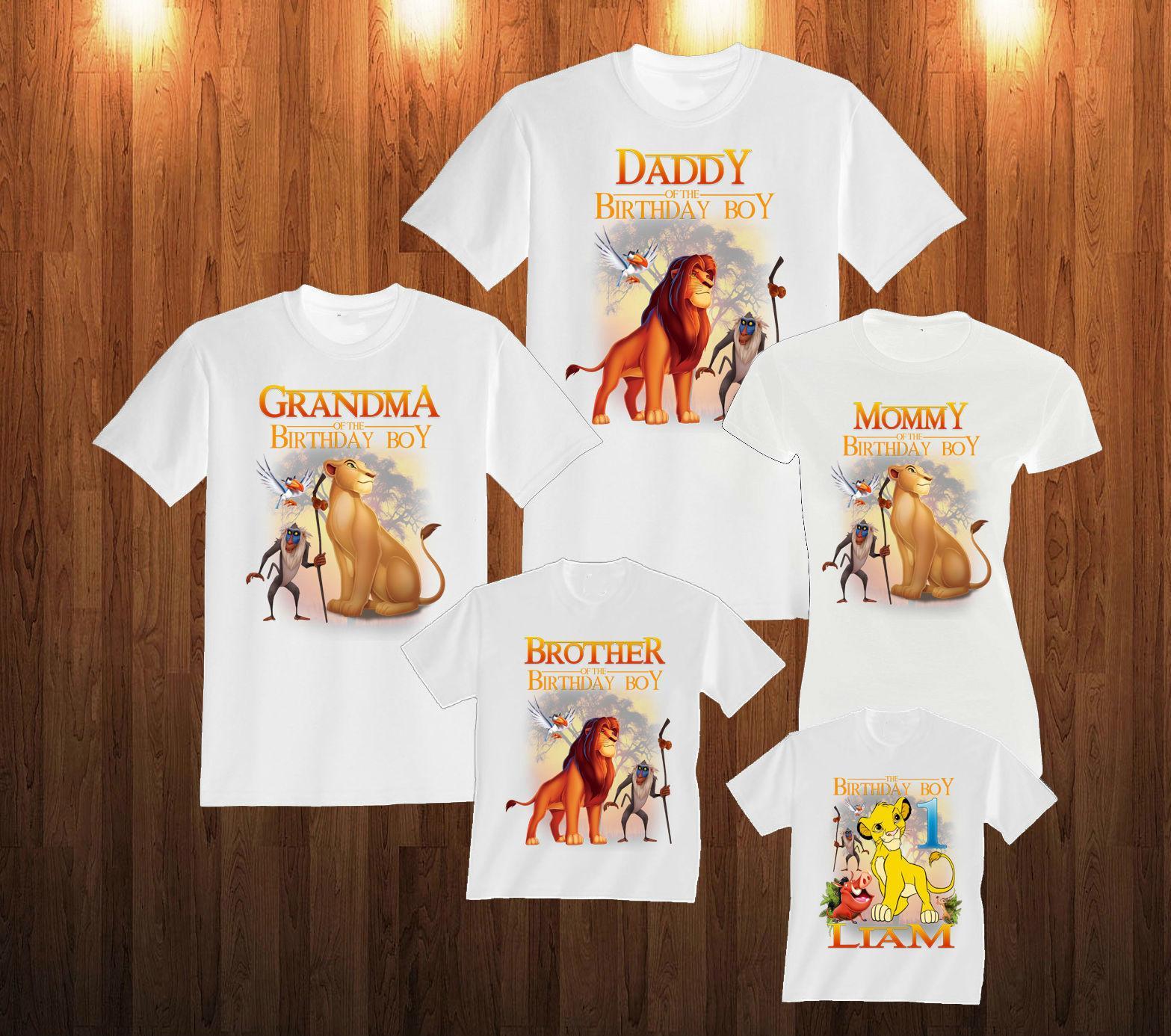 Mamma, papà, Birthday Boy, Birthday Girl Re Leone Big Family T-shirt coordinati Famiglia Outfits, personalizzata con qualsiasi nome ed età Y200713