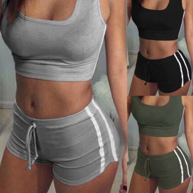 A aptidão das mulheres estiramento Racerback Regatas Shorts terno de calças Bra Define Elastic Sexy Bodycon Vestuário