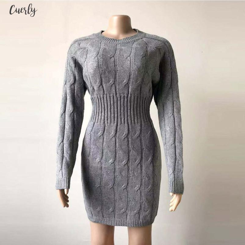 Women Bodycon Dresses 2020 Knitted Mini Dress Autumn Winter Vintage Ladies Slim Dress Long Sleeve Knit Dresses Robe D20