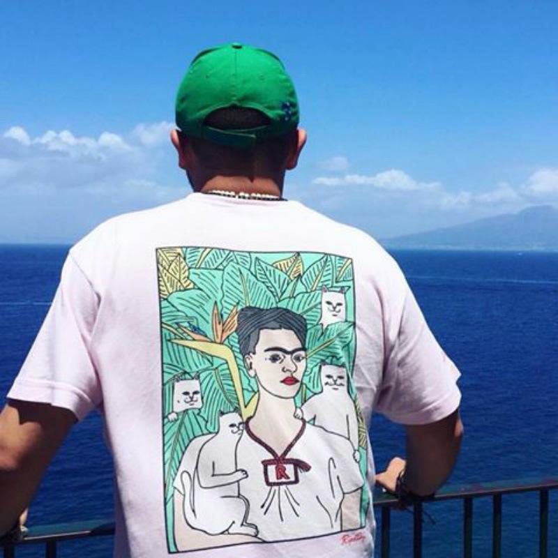 dedo medio gato de la manera de Hip Hop de la moda de los hombres al óleo abstracta pintura de manga corta camiseta de hip hop Bboy mosca muerta alrededor del cuello de la camiseta