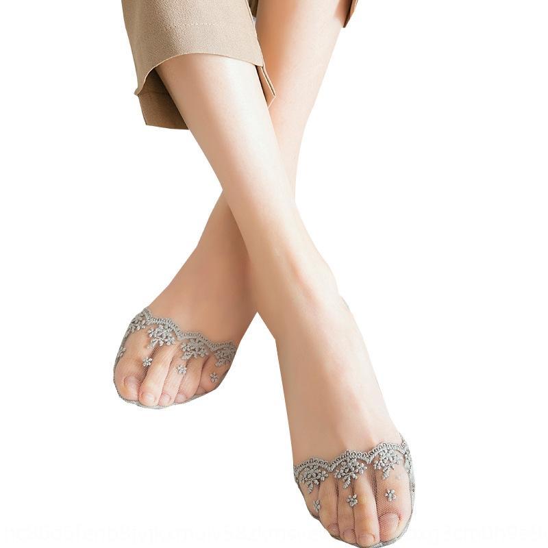 Dantel tekne kadın pamuk yaz ince sığ seksi şeffaf silikon tekne Görünmez Görünmez kaymaz çoraplar düşük seviye çorap