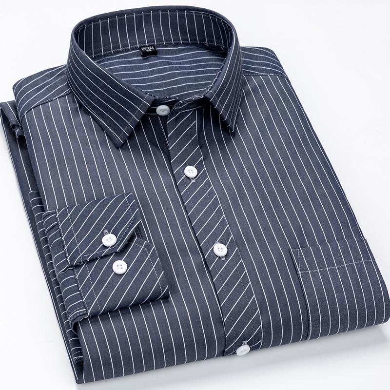 Hombres camiseta de rayas Clásico vertical de ajuste normal de manga larga de solo parche de bolsillo abotonado formales camisas de vestir de negocios básico T200801