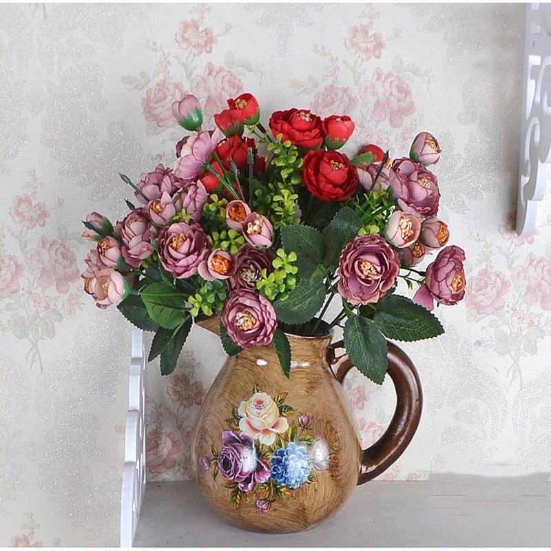 5 adet Avrupa Vintage Yapay İpek Gül Çiçek Buket Düğün Ev Retro Sahte Çiçek Parti bahçe DIY Dekorasyon Paue #