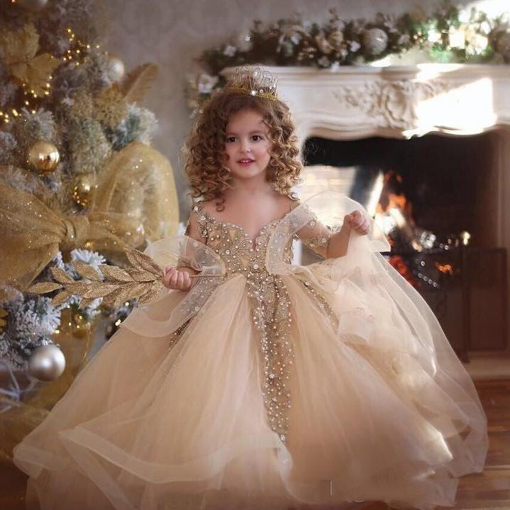 Belle lumière champagne robe de bal filles Pageant robes à manches longues perles Applique dentelle Princesse Tulle Puffy Enfants Fleur d'anniversaire de filles Gow