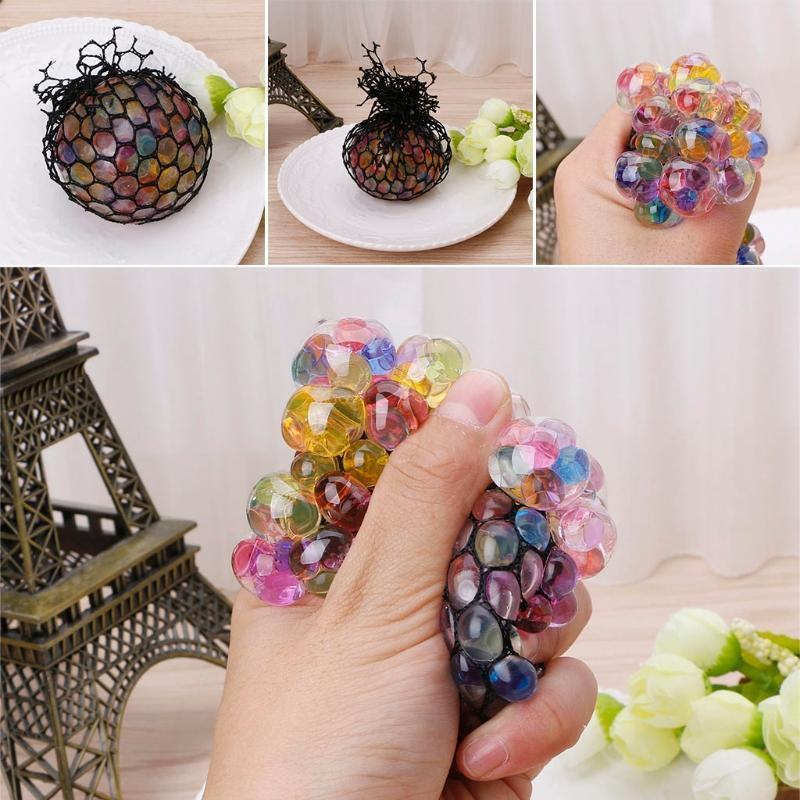 New Funny Rubber Grape Ball Black Mesh Squeeze Toy Stress Autism Mood Relief Gadget with dhl free shipping