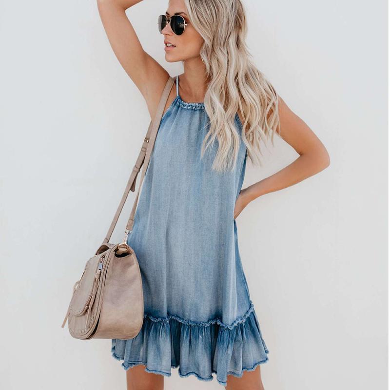 Vestido de mezclilla de moda de mujer de verano vestido de vestido general Vintage casual sexy bodycon halter moda jeans sueltos