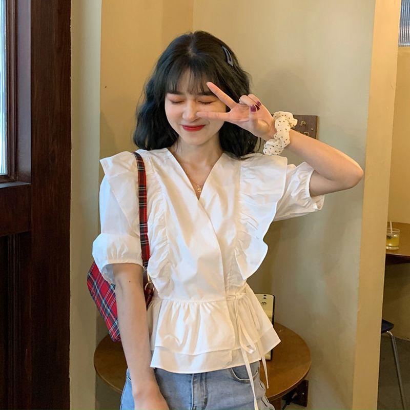 Femmes d'été Blouse Chemises coréenne Chic col en V couleur unie manches bouffantes courtes Volants Patchwork Lacets taille Slim Blusas 2020