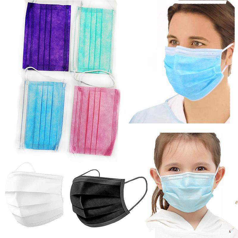 Máscara de capa adulto vqims gratis DHL 3 FA Balck Máscaras de 3 capas de la cubierta de 3 capas Desechable Omaam Boca Chilidren Polvo Niños NJPBC