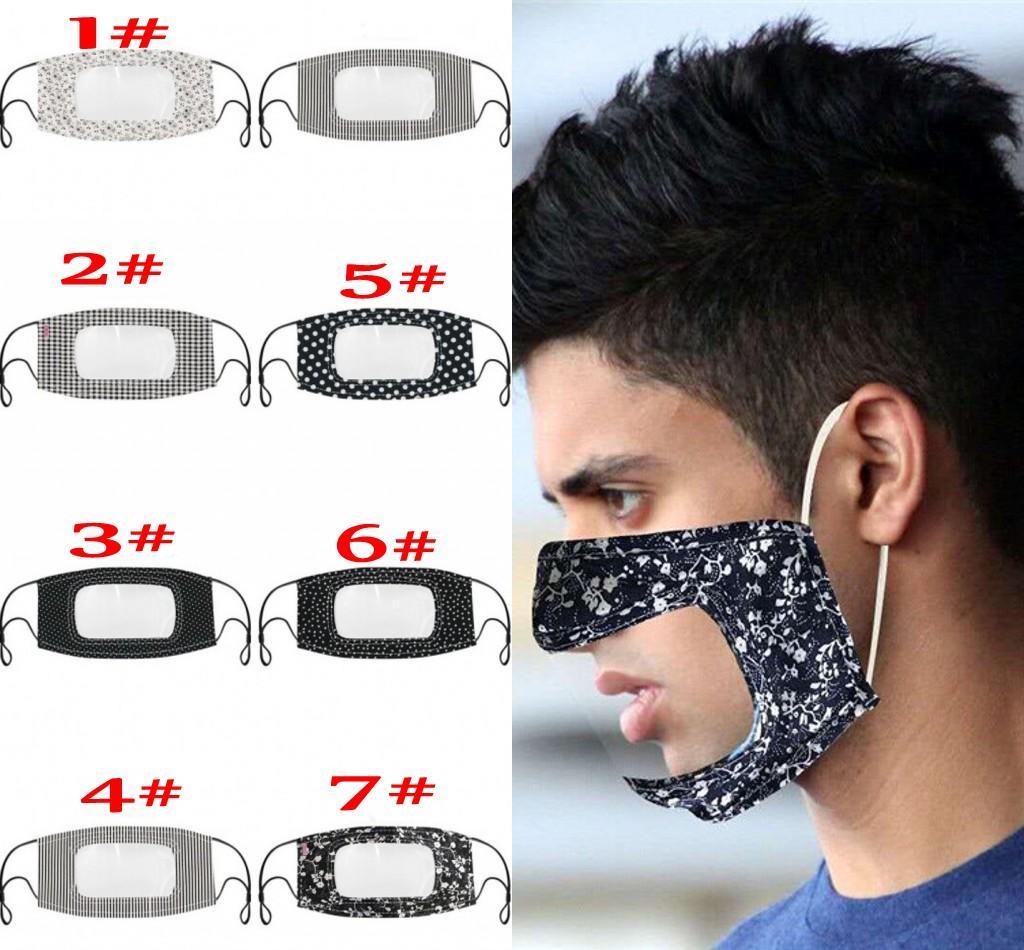 Маска Cotton Printed Взрослый мужской Mouth лица с прозрачным окном Visible Маски глухонемой ветрозащитный пыле моющийся многоразовый FY9151