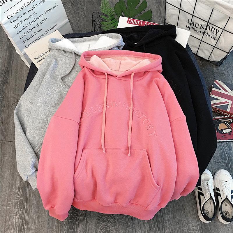 Frauen Hoodies Dickere plus Samt Warm Hoodys Herbst-Winter-Soft-Brief gedruckt Hoodie Taschen Langarm Pullover T200729