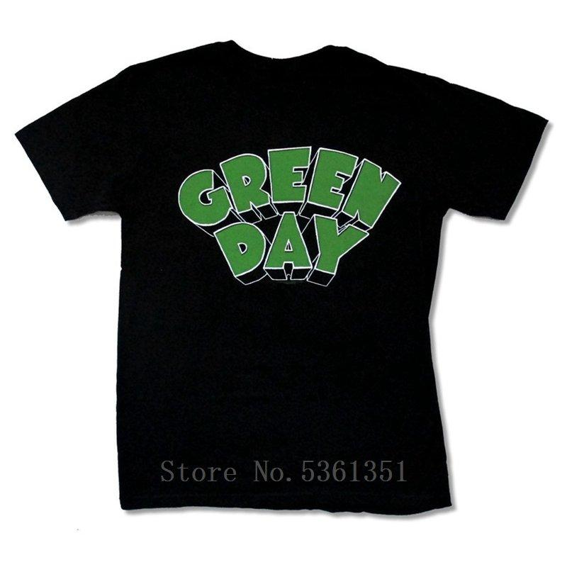"GREEN DAY ""GREEN LOGO & BLACK T SHIRT NEW OFFICIAL ADULT PUNK ROCK BAND Cool Slim Fit Printed Letter shirts"